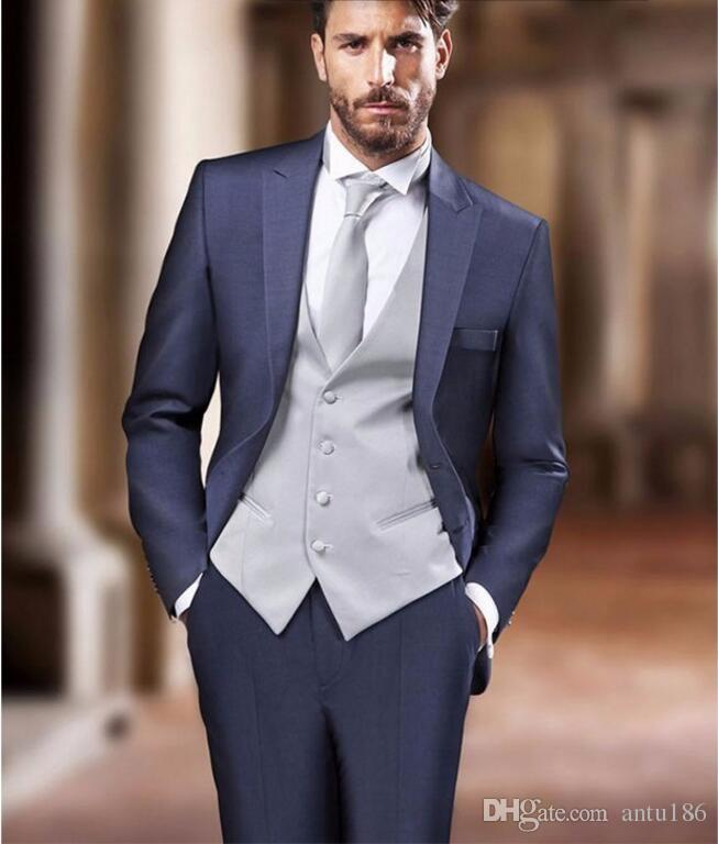 2019 the new style men suits navy blue groom suits tuxedos fashion men wedding prom dinner suits best man suit jacket vest pants from antu186
