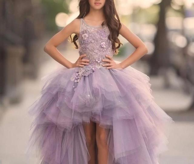 Stylish Lavender High Low Tulle Girls Pageant Dresses Lace Aplliques Tiered Flower Girls Dress For Kid First Communion Gowns Little Girl Beauty Pageant