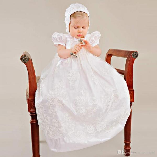 Baby Christening Dress With Hat Empire Waistline Short Sleeves Lace     Baby Christening Dress With Hat Empire Waistline Short Sleeves Lace  Appliques Ruffled Baby Girl Baptism Birthday Gowns First Communion Dress  White Holy