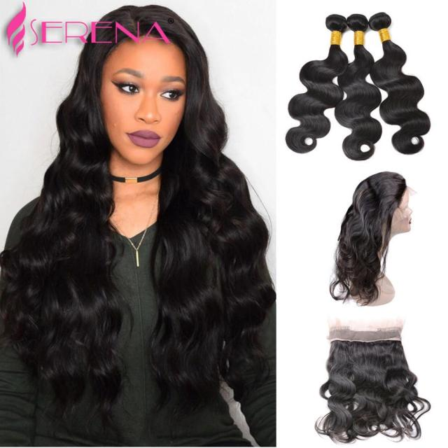 body weave and closure brazilian human virgin hair 360 lace frontal body wave beauty free part unprocessed hair new 8 to 22 inches
