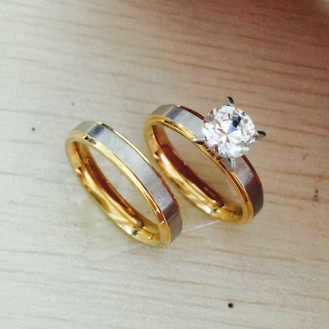 Never Fade 4mm Titanium Steel CZ Diamond Korean Couple