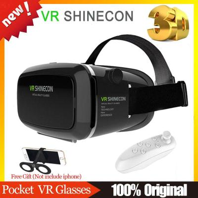 Wholesale- VR SHINECON 1.0 Headmount Version Virtual Reality 3D Glasses Google Cardboard HD VR Glasses + Wireless Mouse Remote Gamepad