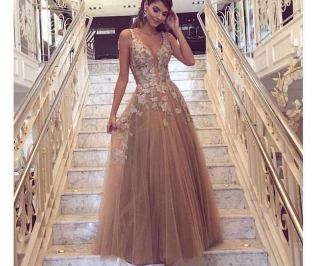 Description Modest Champagne Lace Prom Dresses