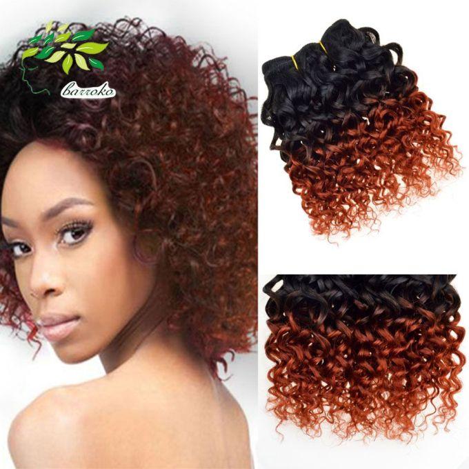 brazilian virgin hair ombre kinky curly weave bob human hair weft 6 pcs lot two tone orange ombre human hair