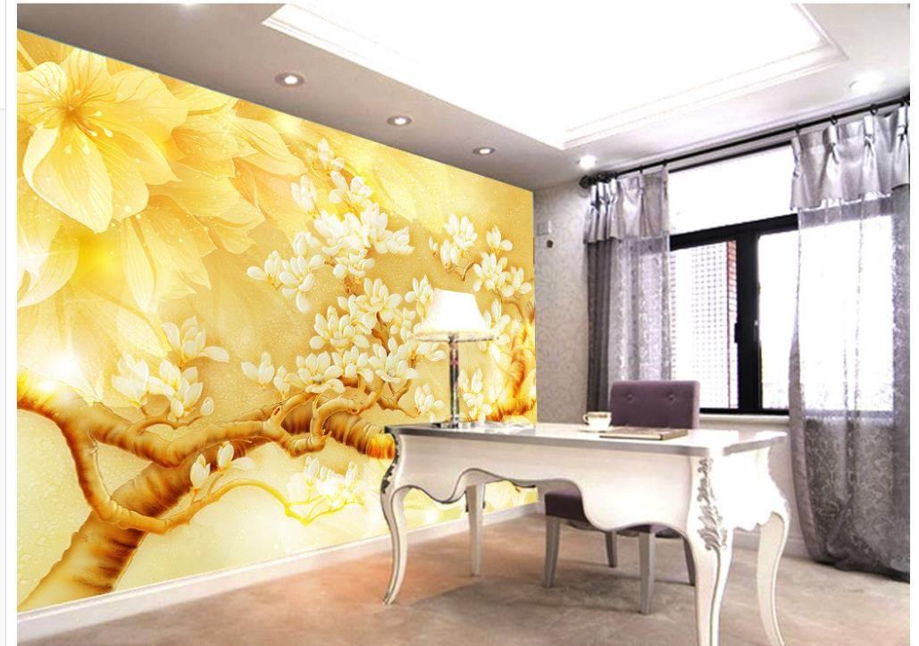 Großhandel 3D Wallpaper Für Zimmer Goldene Gelbe Magnolia Farbe