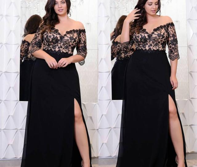 f2a27af145a Black Lace Plus Size Prom Dresses With Half Sleeves Off The Shoulder V Neck  Split Side