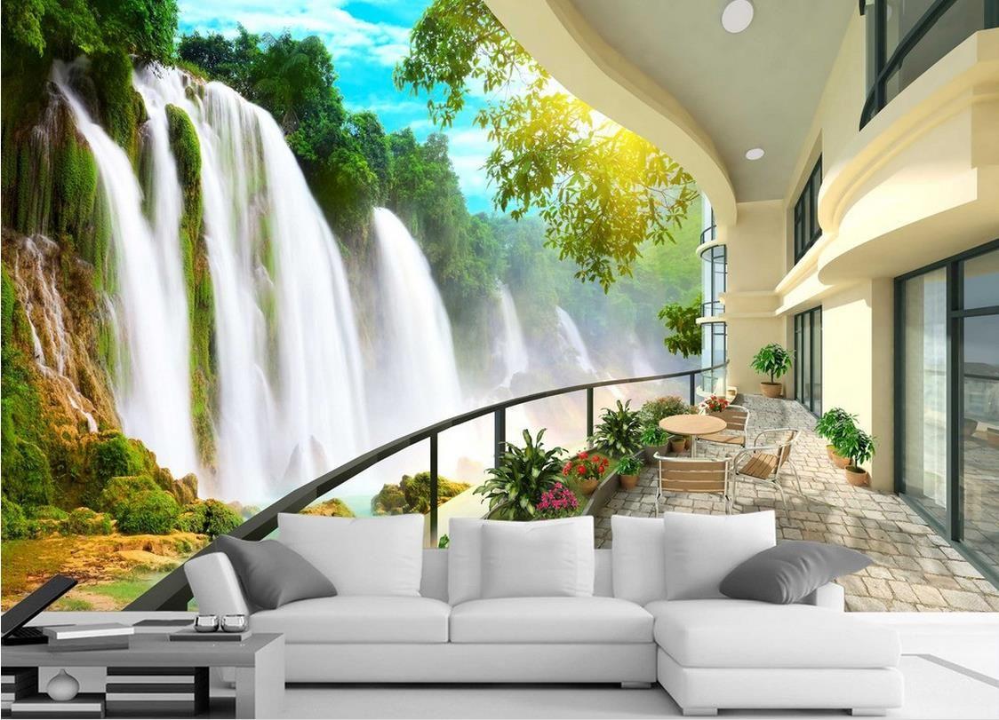 HD Waterfall Landscape TV Wall Mural 3d Wallpaper 3d Wall