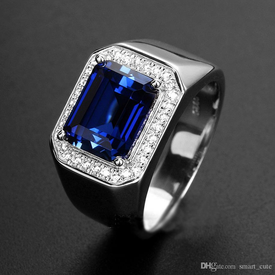 Mens Sapphire Ring With Side Diamonds Blue Corundum 925