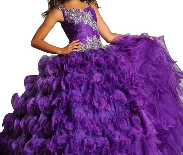 Applique Beautiful Purple Glitz Pageant Dress For Girls Size   Long Prom Corset Puffy Ball Gown Kids Turquoise Party Dresses Junior Pageant Dresses Kids