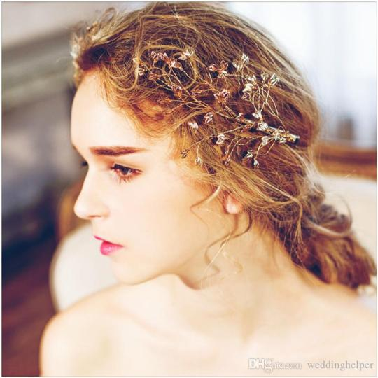 Wholesale Wedding Bridal Hair Clips Accessories Gold Leaf Headpiece     Wholesale Wedding Bridal Hair Clips Accessories Gold Leaf Headpiece Party  Prom Hair Jewelry Princess Queen Comb Clips Band Cheap Rhinestone Jewelry  Wedding