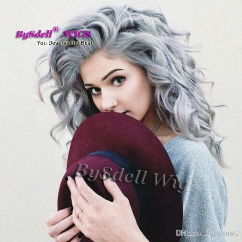 Silver Grey Hair Long Curly Hairstyle White Gray Color