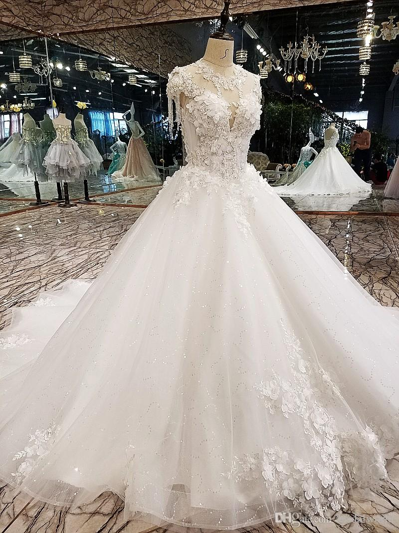 Luxury Korean Wedding Dresses 2018 Floral Champagne Ivory