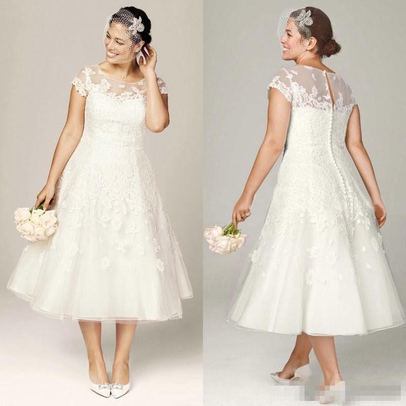Plus Size Tea Length Wedding Dresses 1