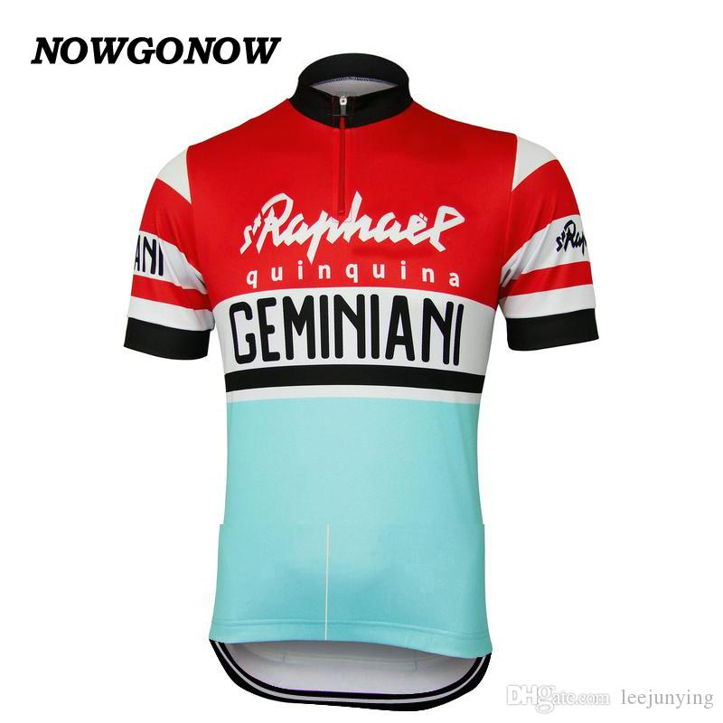 Men Summer 2017 Cycling Jersey Retro Old Style RedampBlue Clothing Team Fans Classic Bike Wear