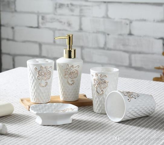 2018 Leaf Shape Ceramic Bathroom Accessories Elegant Bathroom Sets 1     2018 Leaf Shape Ceramic Bathroom Accessories Elegant Bathroom Sets 1 Soap  Bottle 1 Soap Dish  1toothbrush Holder 2 Cups White Color From Lovehomes