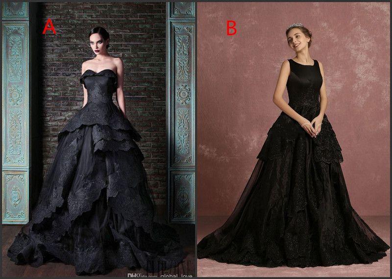 Discount Wedding Dresses Bridal Gown Black Arabic Lace