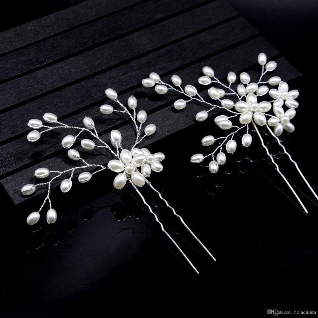 handmade gold flower crystal pearl wedding hair comb clip with vine vintage bridal rhinestone hair jewelry accessory