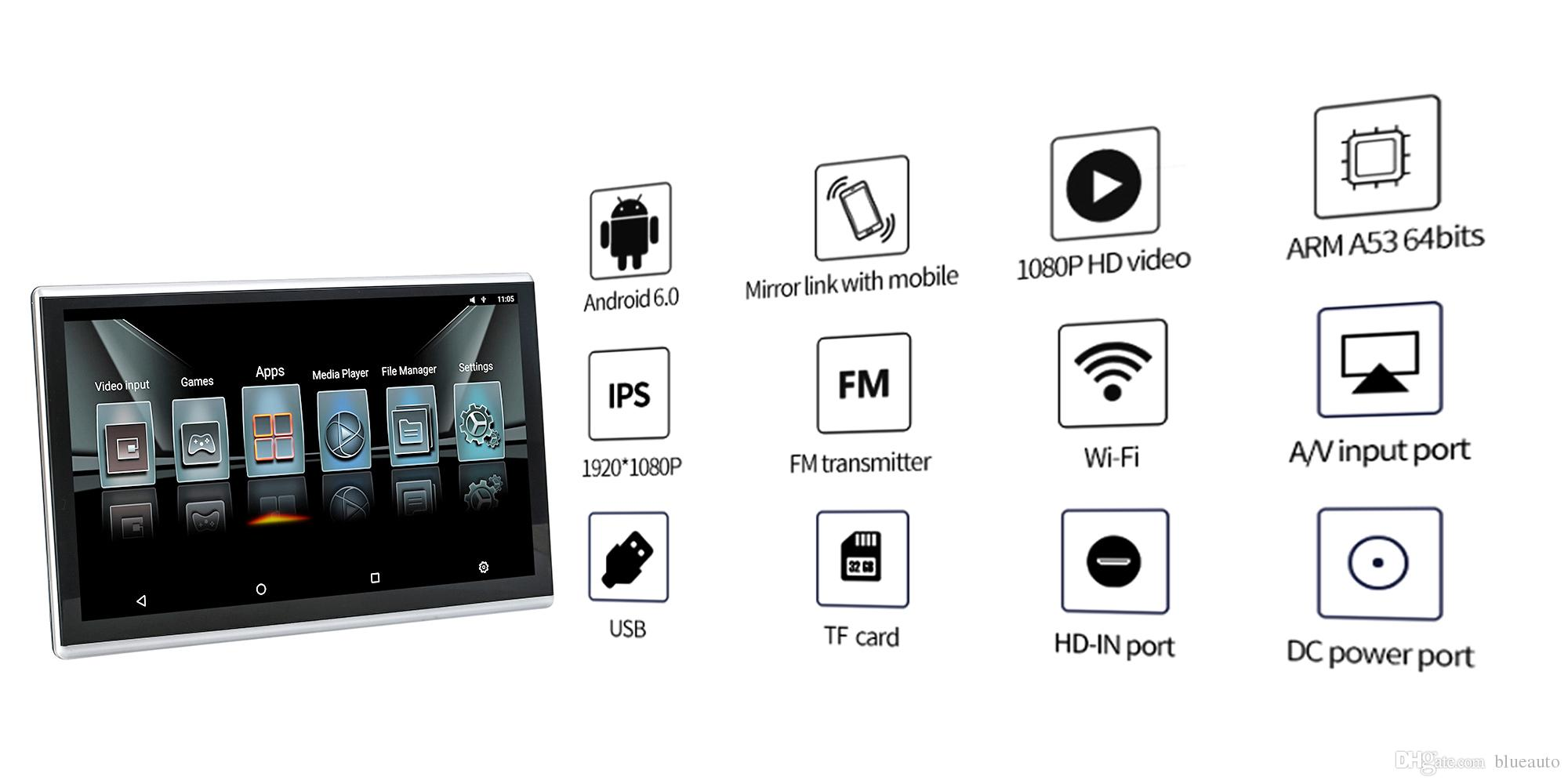 Car Android Headrest Monitor With Bluetooth Aux 11 6 Inch Fm Transmitter Car Bluetooth