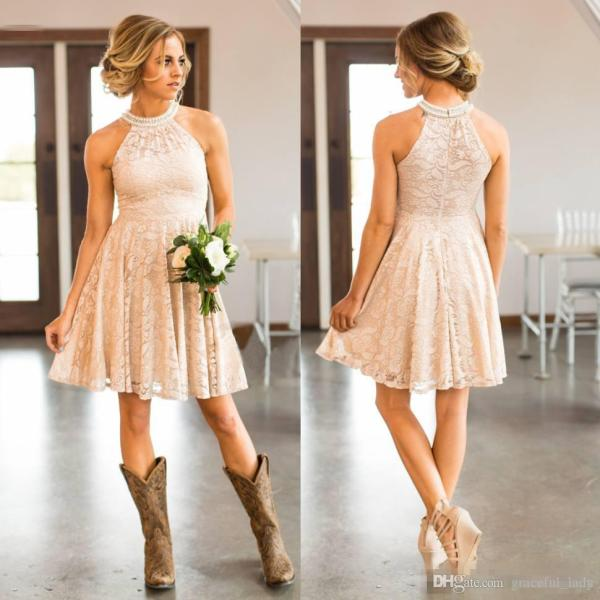 Cheap Short Lace Peach Country Bridesmaids Dresses Pearls Halter     Cheap Short Lace Peach Country Bridesmaids Dresses Pearls Halter Neck Wedding  Guest Dress Knee Length Cowgirls Maid Of Honor Gowns Rose Gold Bridesmaid