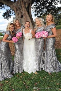 Scoop Sheath Bridesmaid Dress Silver Sequined 2018 Short Sleeve     Scoop Sheath Bridesmaid Dress Silver Sequined 2018 Short Sleeve Sparkly  Long Wedding Party Gowns Custom Made Garden Hot Selling Floor Length Guest  Wedding