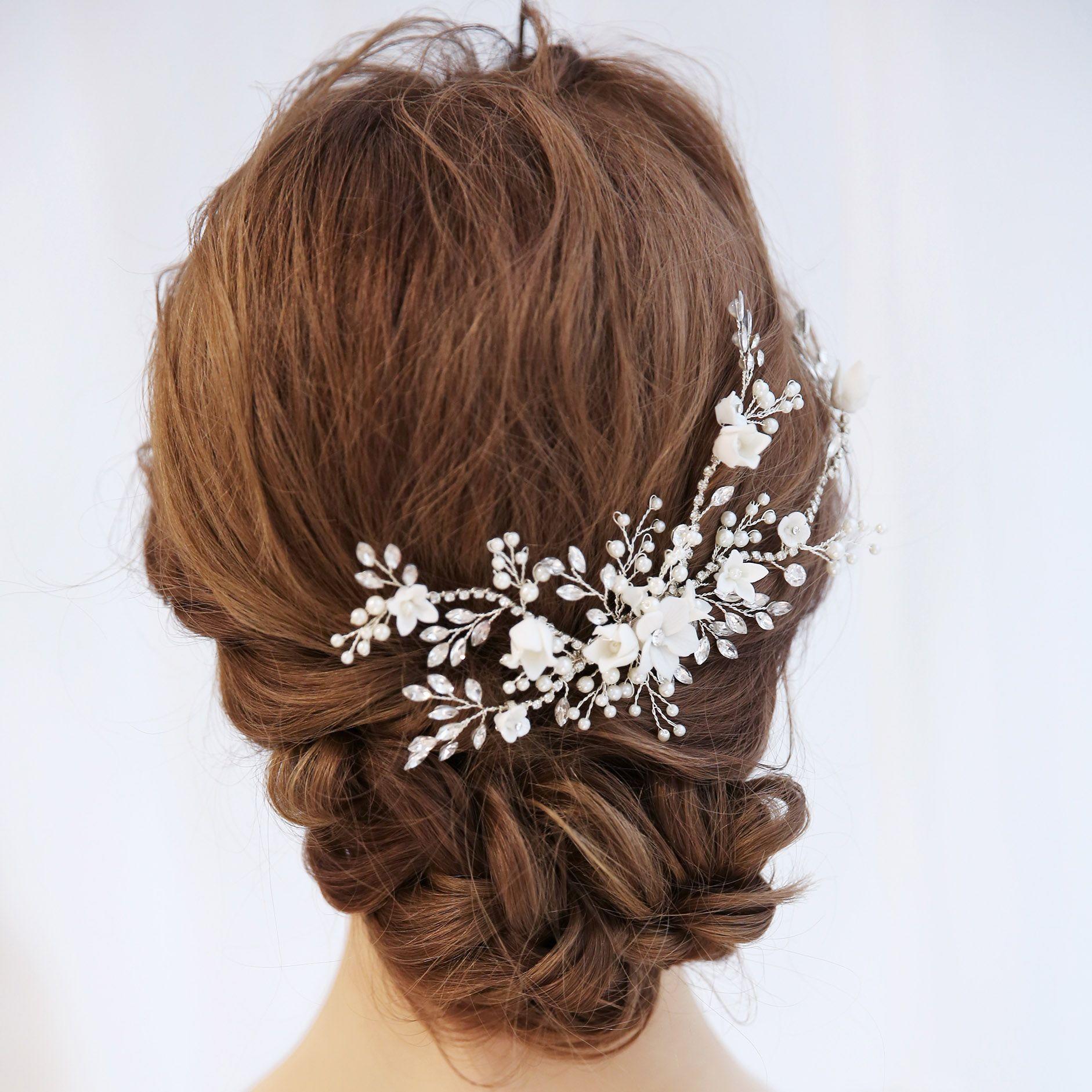 Romantic Floral Bridal Hair b Antique Crystal Wedding Headpiece