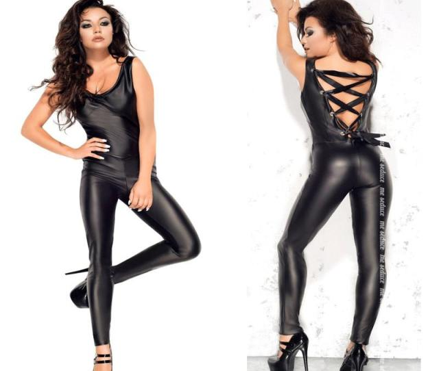 Sexy Erotic Latex Lingerie Costumes Pu Leather Punk Womens Jumpsuit Romper Backless Hollow Out Bondage Jumpsuit Nightclub Wear Sexy Gift Sets Sexy Lingere