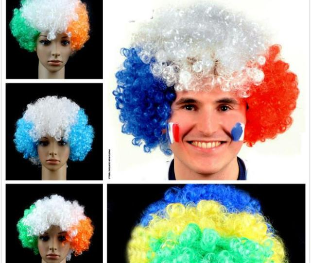 World Cup Flags Wig European Cup Fans Party Wigs Football Fun Wig Cheerleading Wig Colorful Curly Hair Cover Big Hair Dhl Fifa Fans Flag Wig Carnival Day