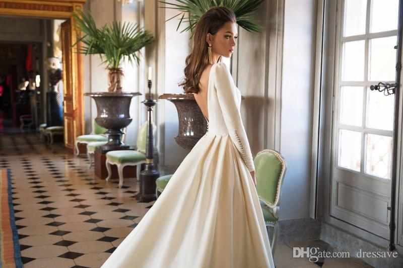 Discount 2019 Wedding Dresses A Line Backless Sweep Train