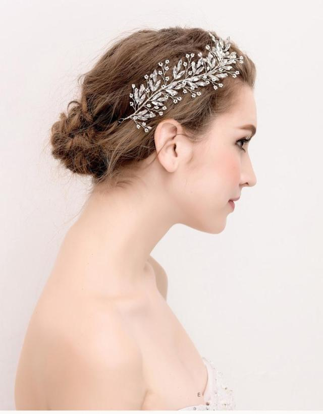 silver leaves headpiece tiara wedding hair accessories women headband headdress pearl jewelry women crystal beads headbands