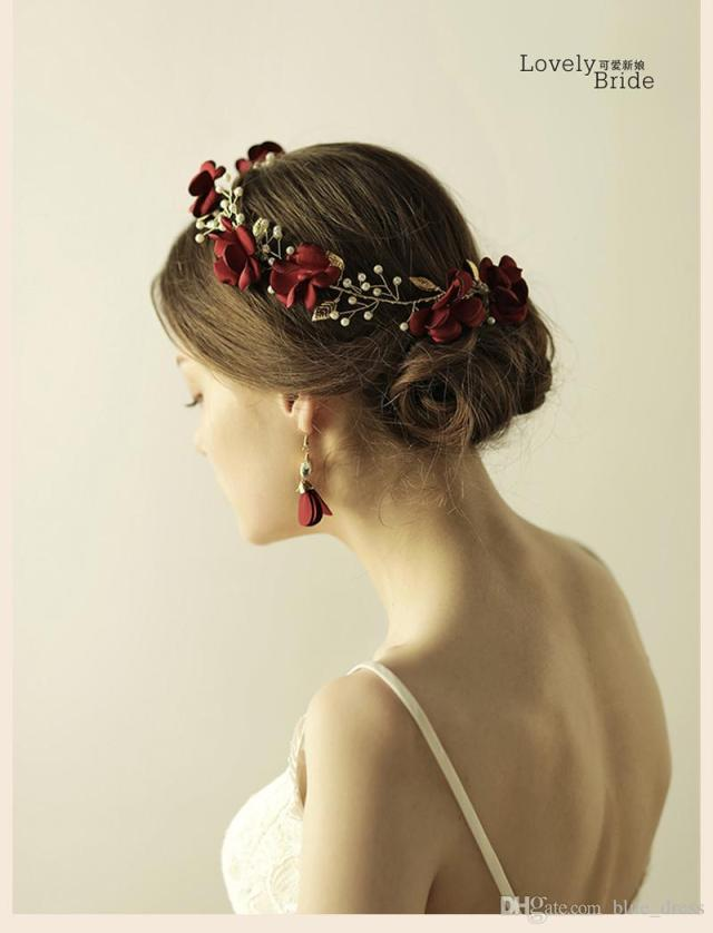 sweet red flowers wedding hair accessories headband pearl bridal hair vine hairbands crown headpiece bride tiara jewelry