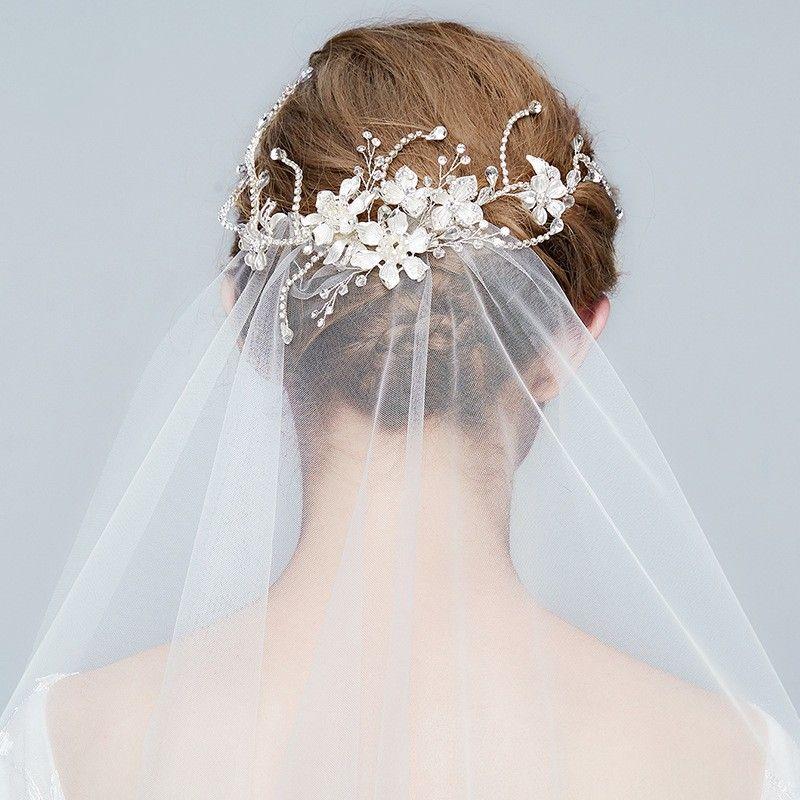 charming floral bridal hair vine clip silver wedding tiara rhinestone hair accessories women jewelry headpiece veil accessories brides and gowns brides