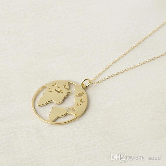 Unique Circle Outline World Map Globe Pendant Necklace Gold Silver     Unique Circle Outline World Map Globe Pendant Necklace Gold Silver Flat  Continent Jewelry Gift for Friend Map Necklace World Necklace Continent  Pendant