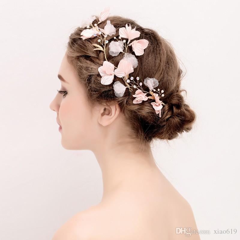 handmade simple flower hair pins bridal clip pearls wedding accessories hair vine piece women jewelry headpiece hair combs bridal hair decorations for