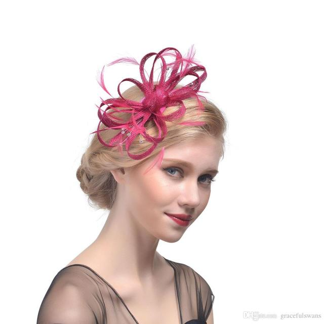 bridal hats feathers linen flowers hair accessories beading girls party hair decoration chapeau mariage femme