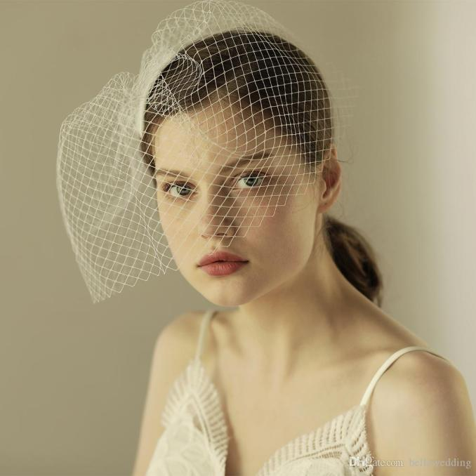2018 vintage bridal veils face blusher wedding hair pieces one layer short bridal headpieces wedding veil birdcage ivory bw-v603