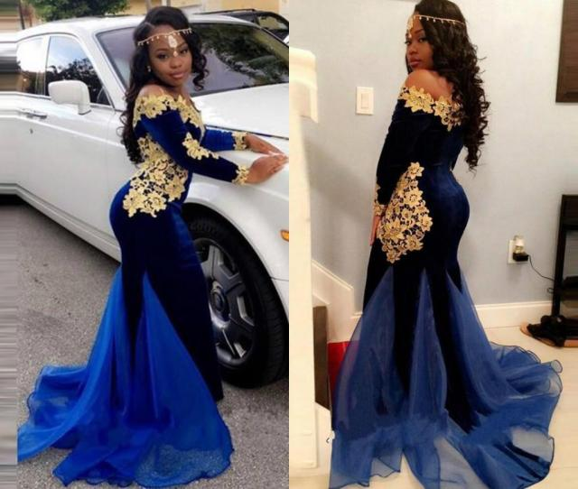 Africa Prom Dresses Off Shoulder Long Sleeves Dark Royal Blue And Gold Applique Evening Dresses Special Design Mermaid Tail Party Gowns Cheap Prom Dress