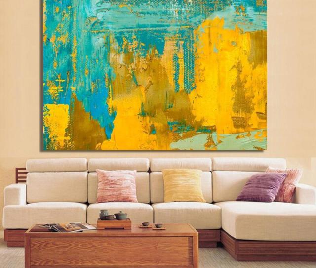 Modern Abstract Art Posters And Prints Wall Art Canvas Painting Glod Yellow And Green Abstract Pictures For Living Room No Frame From Framedpainting