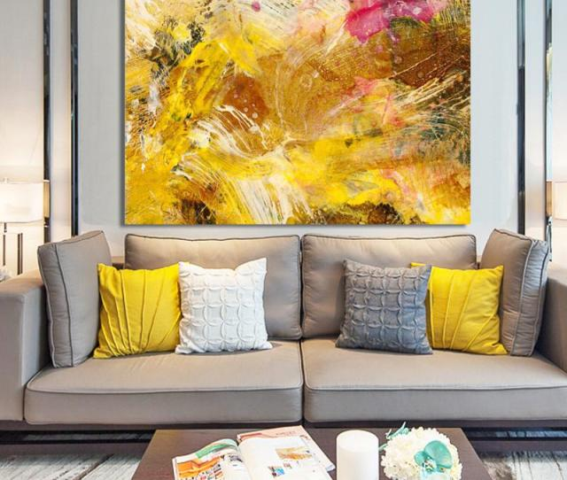 Modern Abstract Art Posters And Prints Wall Art Canvas Painting Golden Yellow Abstract Wall Paintings For Living Room No Frame From Framedpainting