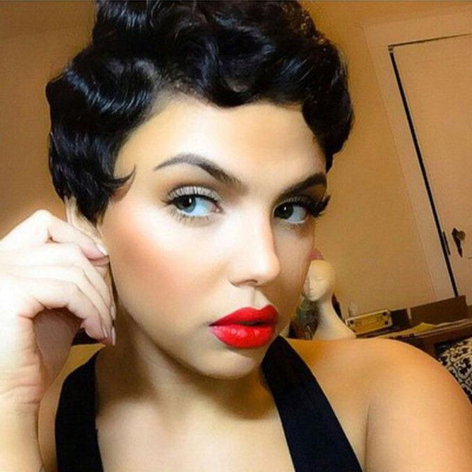 8inch classical short finger wave synthetic no lace wig glueless heat resistant black blonde deep wave machine made wigs for fashion women