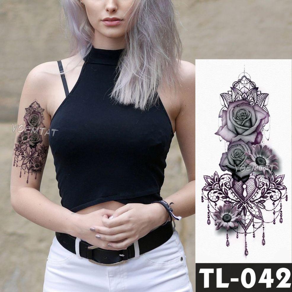 поддельные временные татуировки наклейки темно розовые цветы рука плечо тату