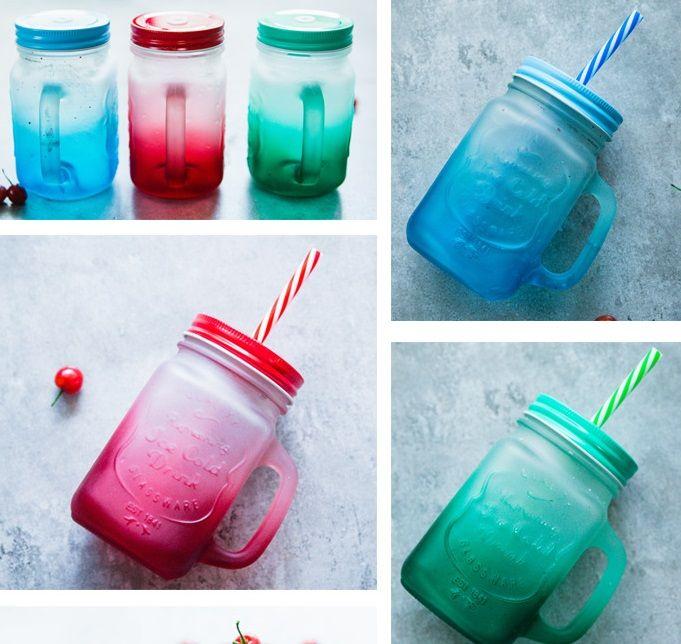 Großhandel Einmachglas Becher Mit Griff, Farbendeckeln Und