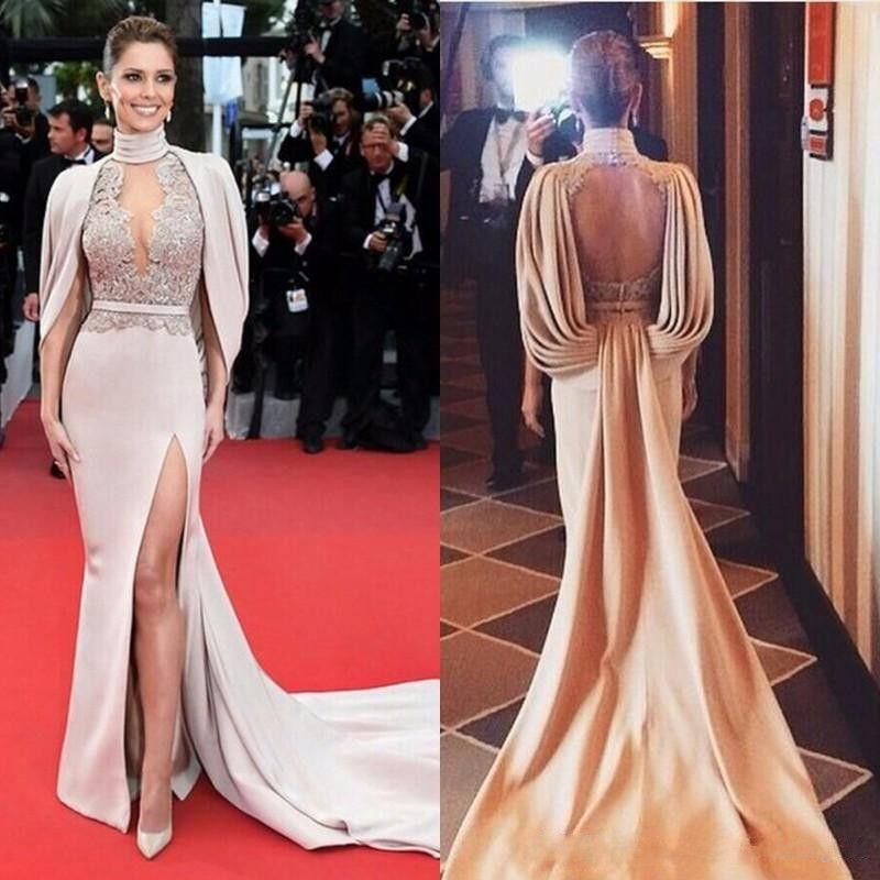 acheter 2020 new backless famous star robe tapis rouge sexy robe de soiree haut fendu sur le cote eventree retour col montant robes celebrity
