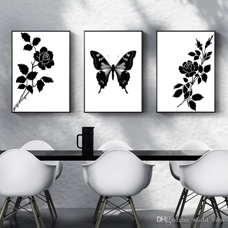 2020 Black And White Wall Decor Art Minimalist Flower Butterfly Canvas Painting Abstract Home Wall Decorative Posters Simple Wall Pictures N From World View 13 62 Dhgate Com