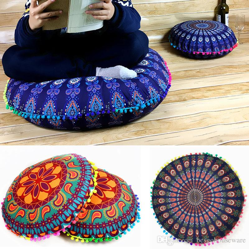 round cushion pillow covers printed