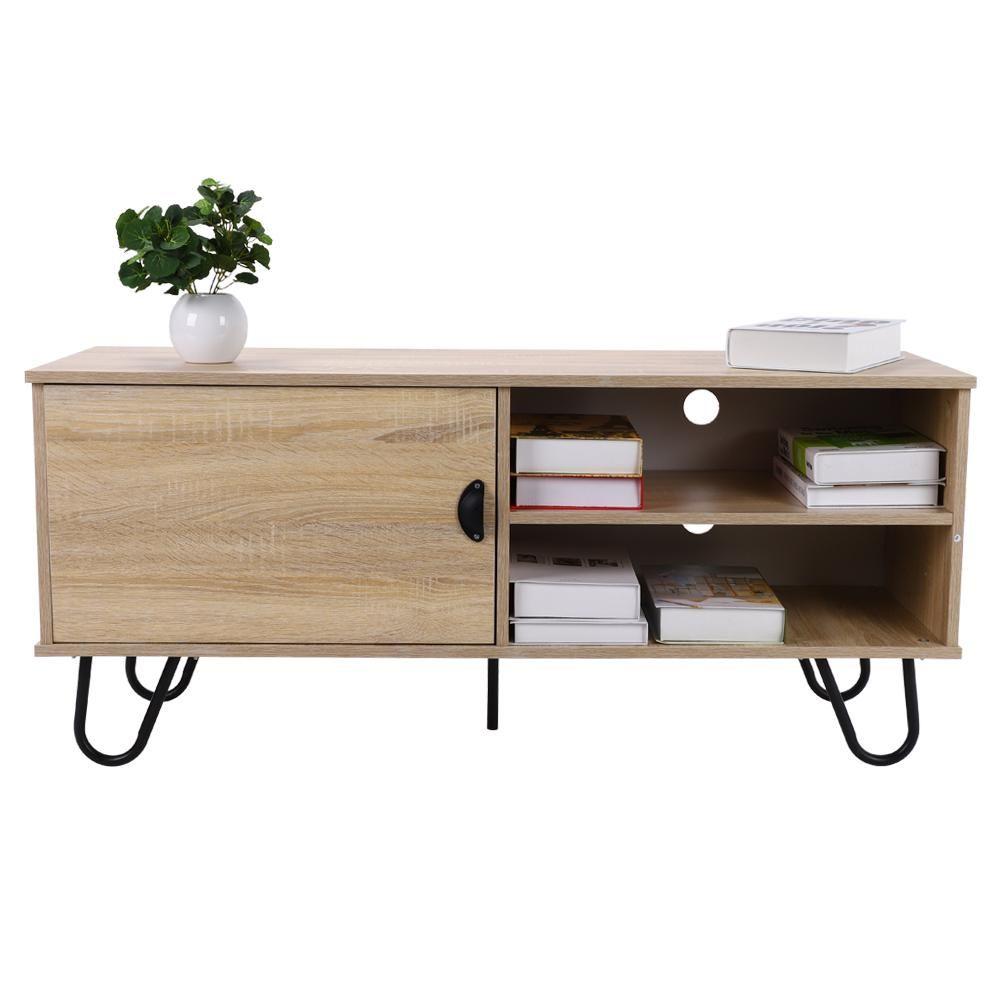 acheter nouveau design meuble tv tv table console armoire en bois table basse the avec 2 etageres de rangement et porte metallegs de 458 79 du