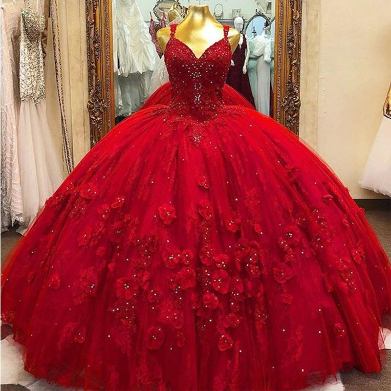 Red V Neck Floral Flower Quinceanera Prom Dresses Spaghetti Strap Beaded 15 Sweet Party Gowns Vestidos De 15 Anos From Wevens 206 77 Dhgate Com