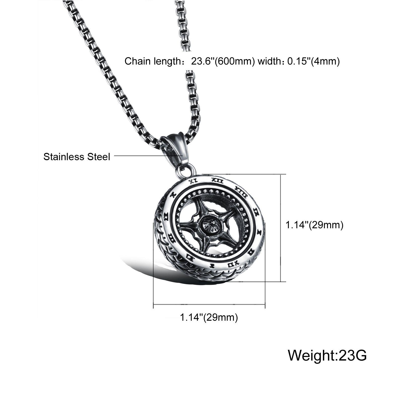 Wholesale Silver Car Wheel Rim Pendant Necklace Racing