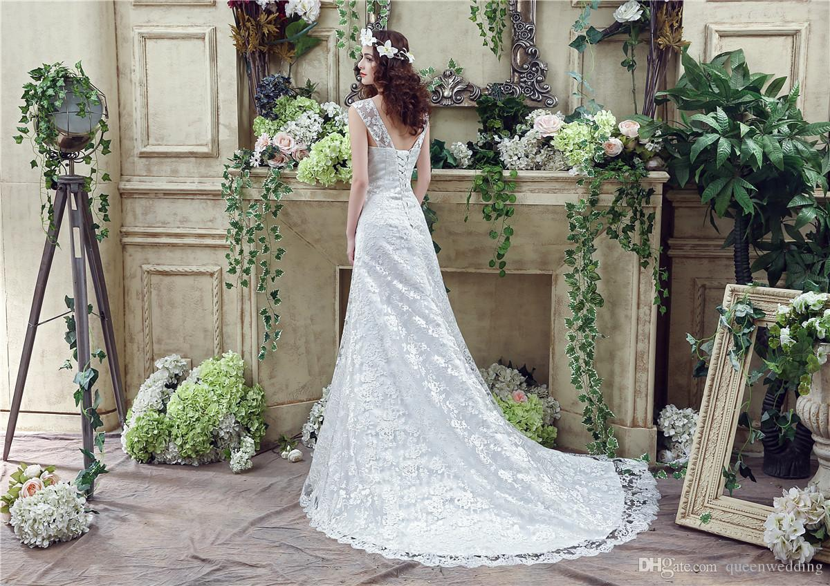 2016 Modest Lace Mermaid Wedding Dresses In Stock