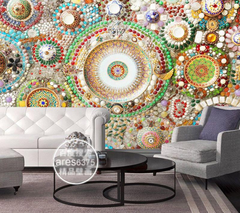 Großhandel Bohemian Tapete 3D Wandbild Schlafzimmer Jade Mosaik