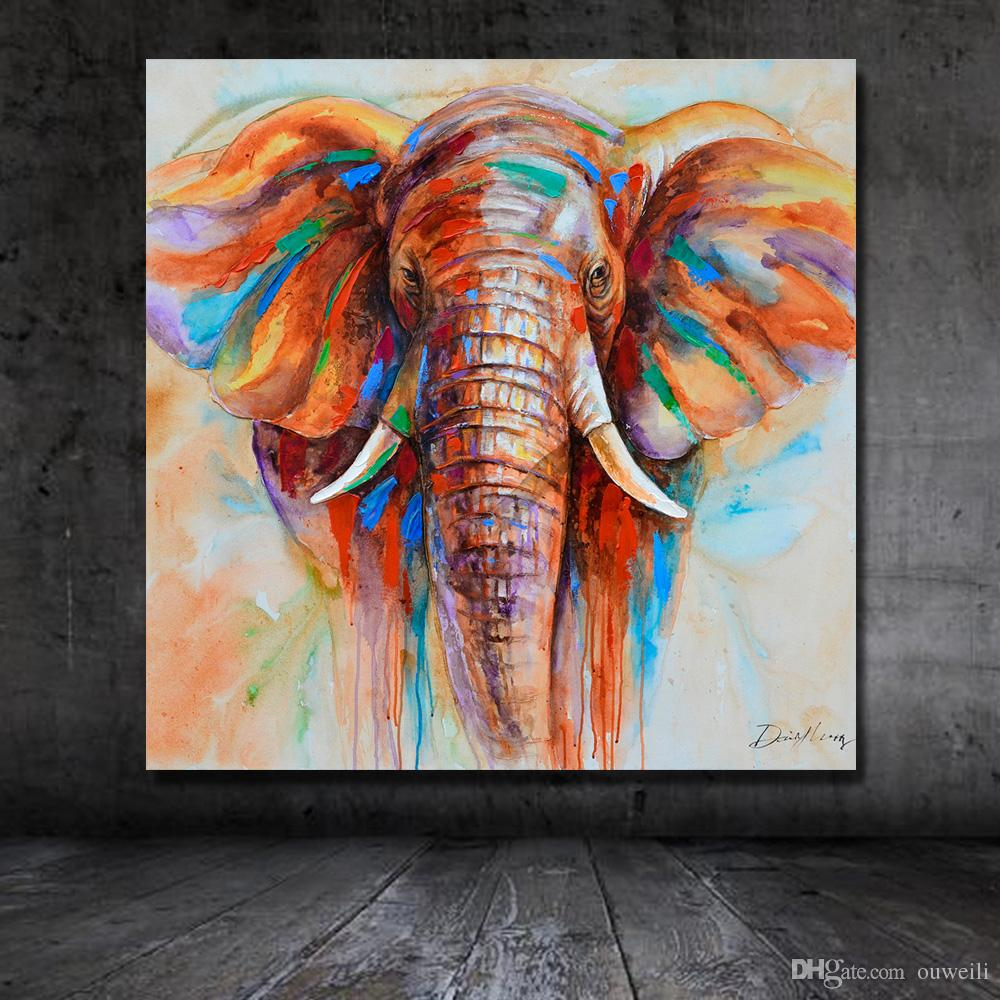 2019 Hand Painted Oil Painting African Wild Animal Elephant Wall Pictures Oil Painting Large